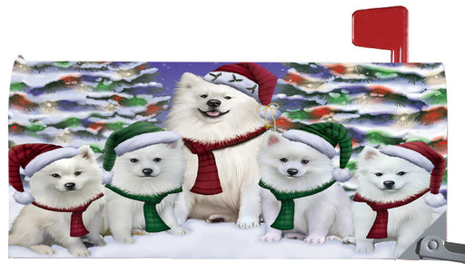 Magnetic Mailbox Cover American Eskimos Dog Christmas Family Portrait in Holiday Scenic Background MBC48187