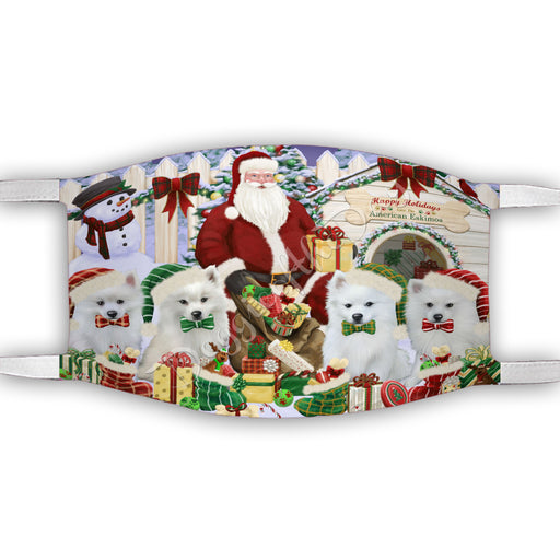 Happy Holidays Christmas American Eskimo Dogs House Gathering Face Mask FM48209