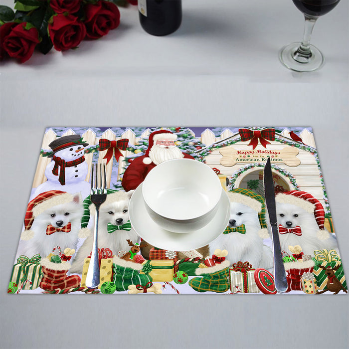 Happy Holidays Christmas American Eskimo Dogs House Gathering Placemat