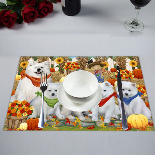 Fall Festive Harvest Time Gathering American Eskimo Dogs Placemat