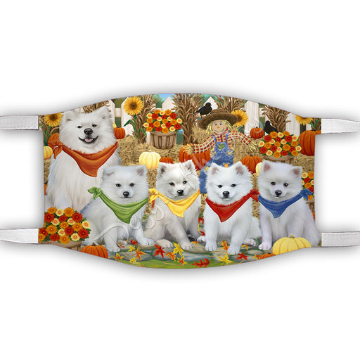 Fall Festive Harvest Time Gathering  American Eskimo Dogs Face Mask FM48498