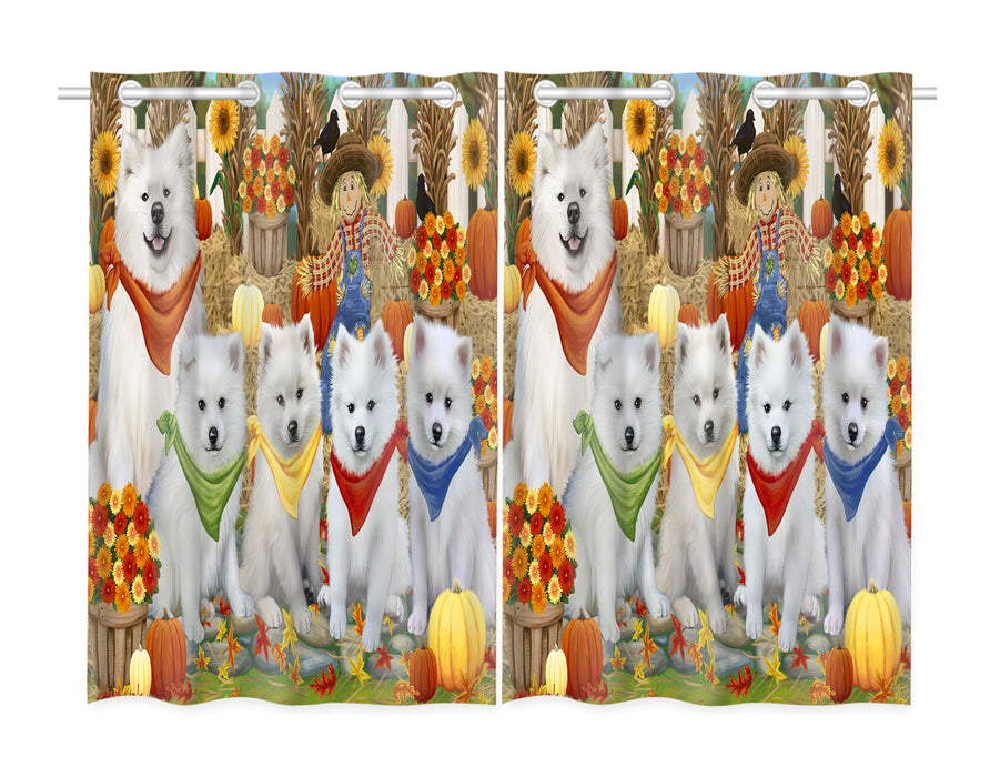 Fall Festive Harvest Time Gathering American Eskimo Dogs Window Curtain