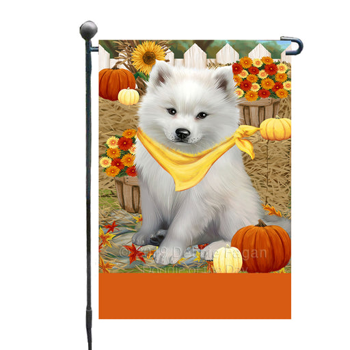 Personalized Fall Autumn Greeting American Eskimo Dog with Pumpkins Custom Garden Flags GFLG-DOTD-A61761