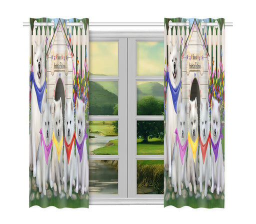 Spring Dog House American Eskimo Dogs Window Curtain