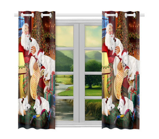 Santa Sleeping with American Eskimo Dogs Window Curtain