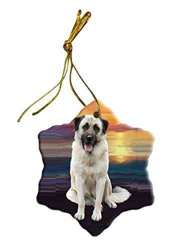 Anatolian Shepherd Dog Christmas Snowflake Ceramic Ornament