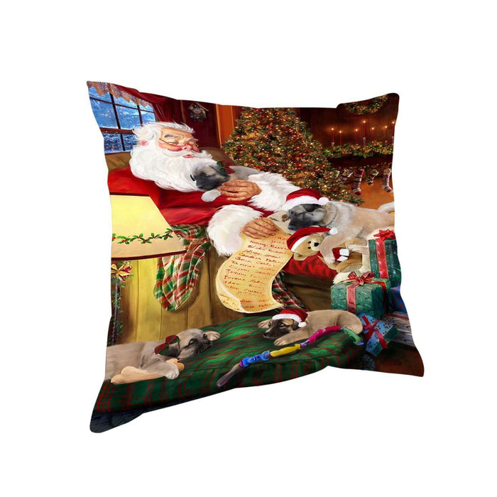 Anatolian Shepherds Dog and Puppies Sleeping with Santa Throw Pillow