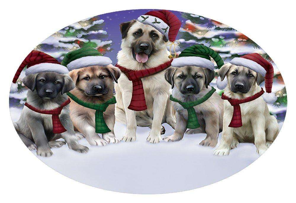 Anatolian Shepherds Dog Christmas Family Portrait in Holiday Scenic Background Oval Envelope Seals