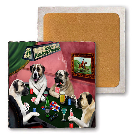 Set of 4 Natural Stone Marble Tile Coasters - Home of Anatolian Shepherd 4 Dogs Playing Poker MCST48068