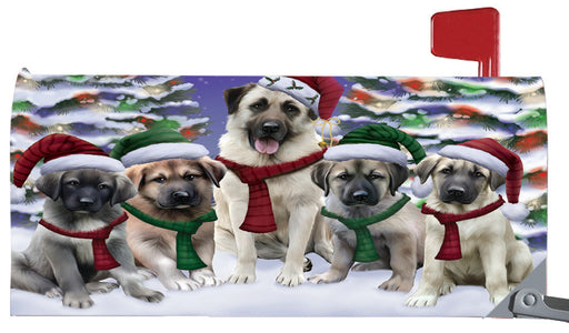 Magnetic Mailbox Cover Anatolian Shepherds Dog Christmas Family Portrait in Holiday Scenic Background MBC48189
