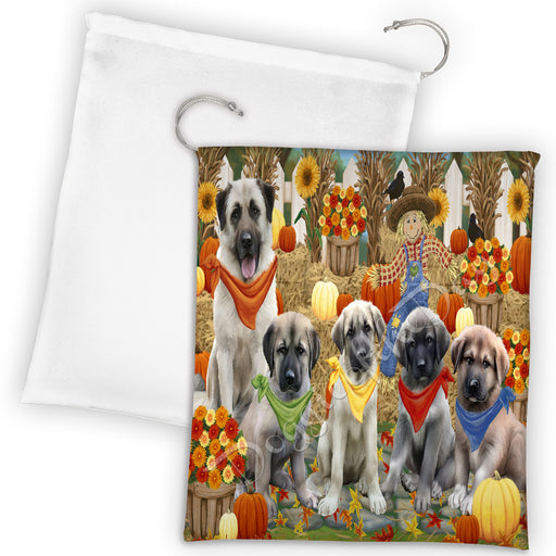 Fall Festive Harvest Time Gathering Anatolian Shepherd Dogs Drawstring Laundry or Gift Bag LGB48367