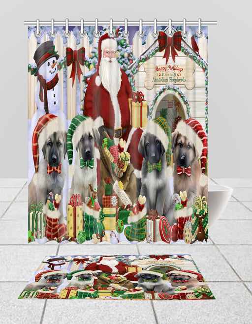 Happy Holidays Christmas Anatolian Shepherd Dogs House Gathering Bath Mat and Shower Curtain Combo