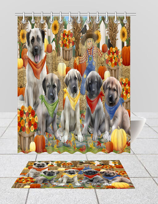 Fall Festive Harvest Time Gathering Anatolian Shepherd Dogs Bath Mat and Shower Curtain Combo