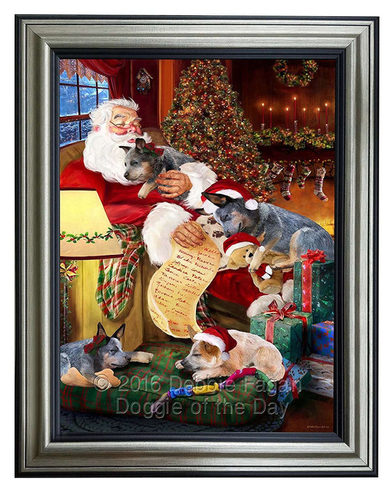 Australian Cattle Dog and Puppies Sleeping with Santa Framed Canvas Print Wall Art