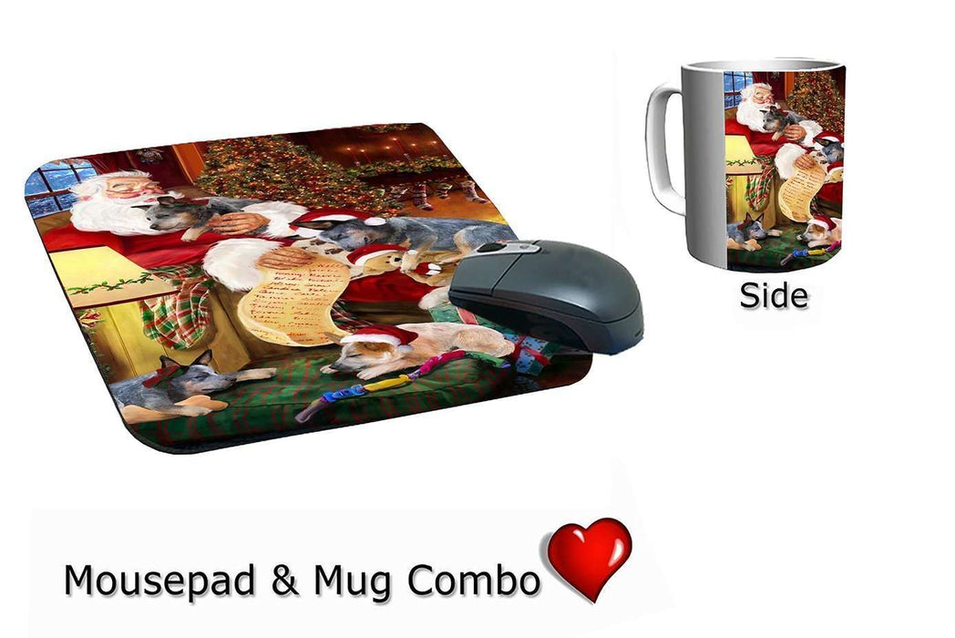 Australian Cattle Dog and Puppies Sleeping with Santa Mug & Mousepad Combo Gift Set