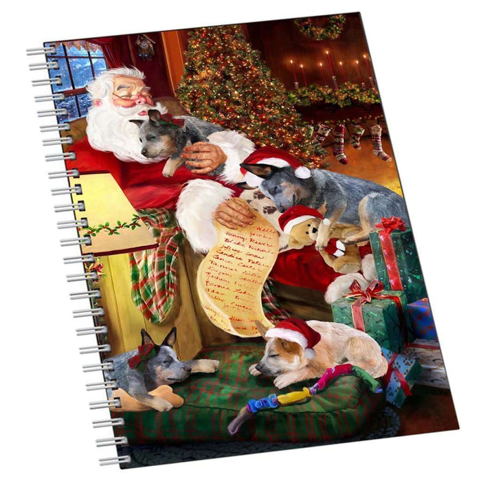 Australian Cattle Dog and Puppies Sleeping with Santa Notebook