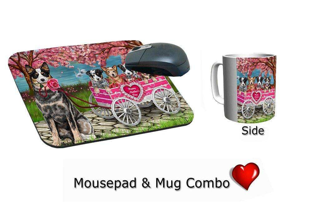 Australian Cattle w/ Puppies Mother's Day Dogs Mug & Mousepad Combo Gift Set