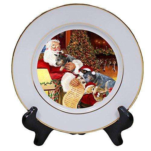 Australian Cattledog Dog and Puppies Sleeping with Santa Porcelain Plate
