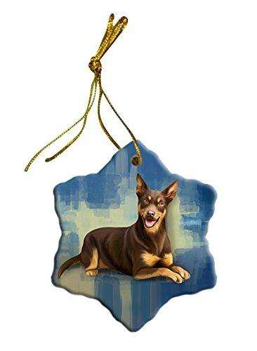 Australian Kelpie Dog Christmas Snowflake Ceramic Ornament