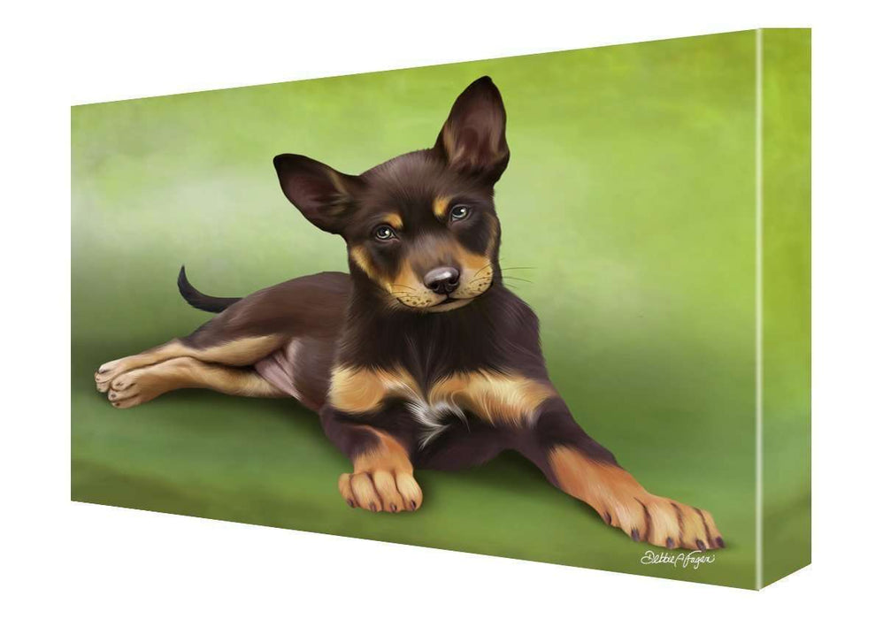 Australian Kelpie Puppy Dog Painting Printed on Canvas Wall Art Signed