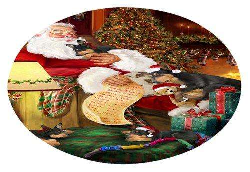 Australian Kelpies Dog and Puppies Sleeping with Santa Oval Envelope Seals