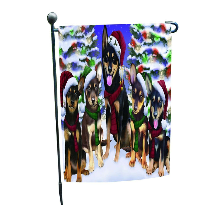 Australian Kelpies Dog Christmas Family Portrait in Holiday Scenic Background Garden Flag