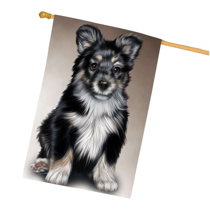 Australian Shepherd Black Puppy Dog House Flag