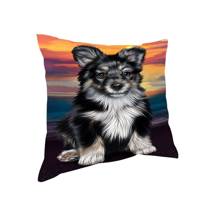 Australian Shepherd Black Puppy Dog Throw Pillow