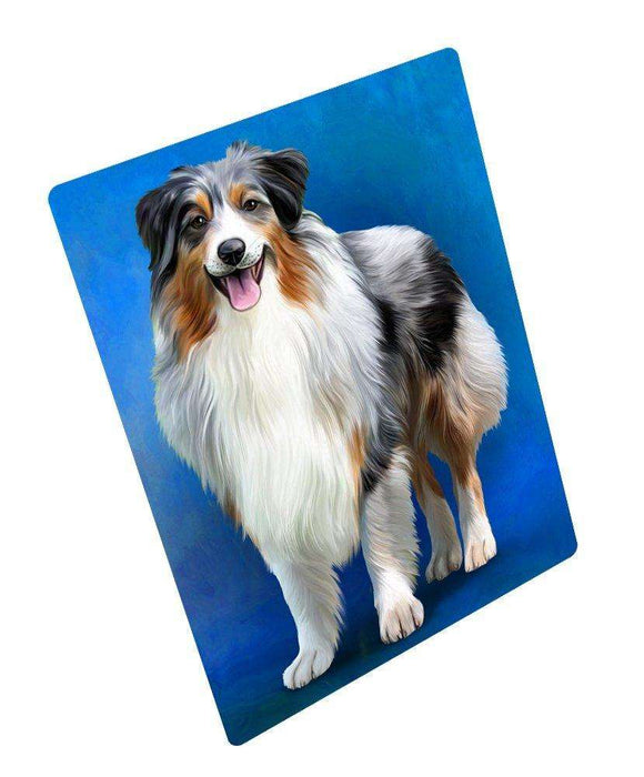 Australian Shepherd Blue Merle Dog Art Portrait Print Woven Throw Sherpa Plush Fleece Blanket