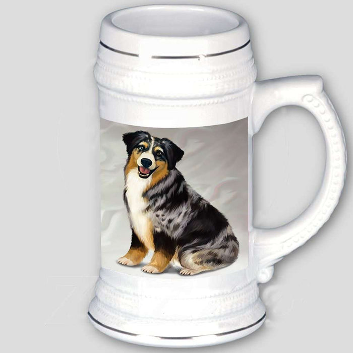 Australian Shepherd Blue Merle Dog Beer Stein