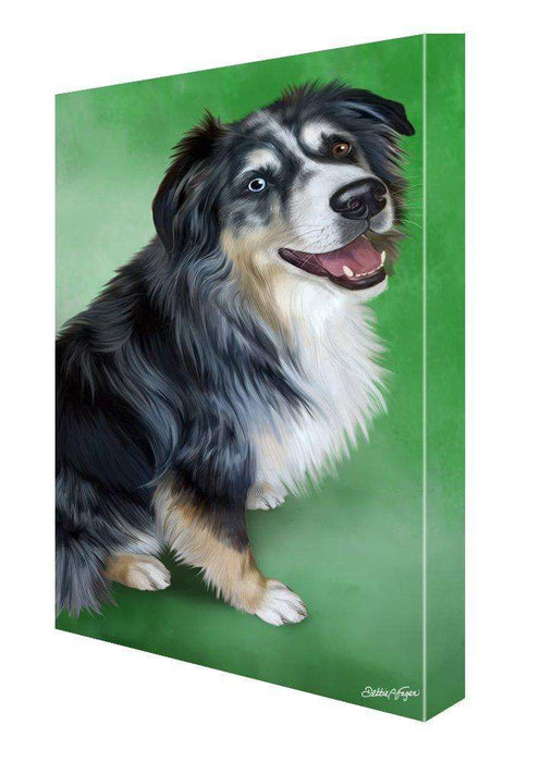 Australian Shepherd Blue Merle Dog Painting Printed on Canvas Wall Art Signed