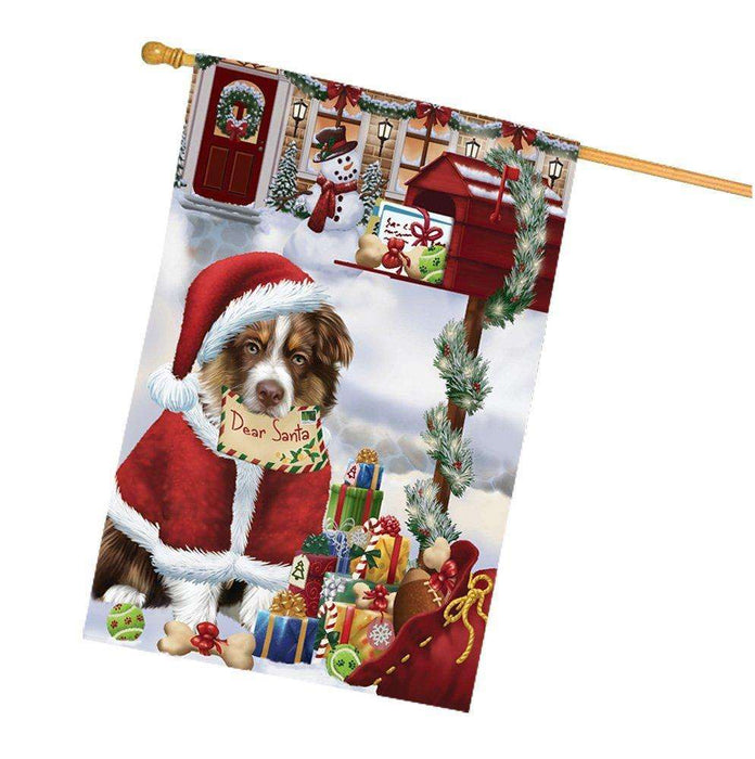 Australian Shepherd Dear Santa Letter Christmas Holiday Mailbox Dog House Flag