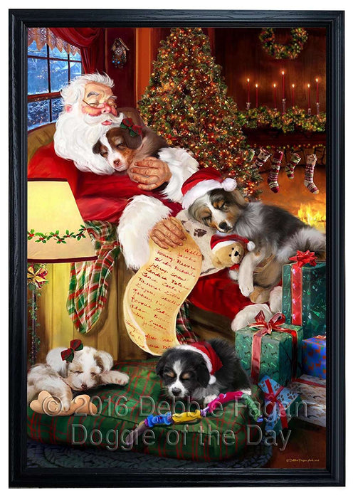 Australian Shepherd Dog and Puppies Sleeping with Santa Framed Canvas Print Wall Art