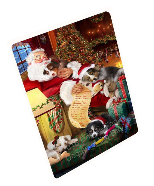 "Australian Shepherd Dog And Puppies Sleeping With Santa Magnet Mini (3.5"" x 2"")"