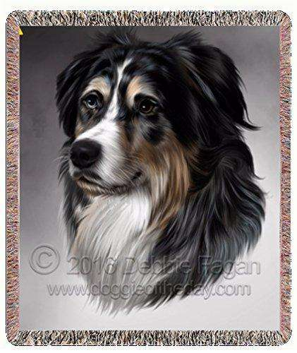 Australian Shepherd Dog Art Portrait Print Woven Throw Blanket