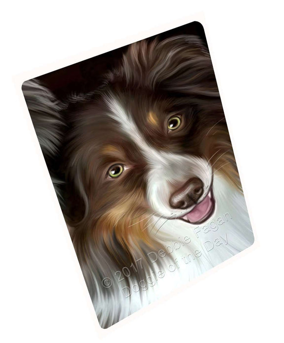 Australian Shepherd Dog Art Portrait Print Woven Throw Sherpa Plush Fleece Blanket