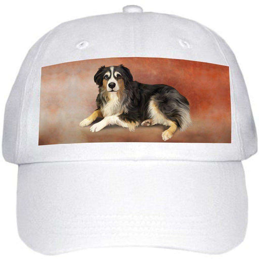Australian Shepherd Dog Ball Hat Cap Off White