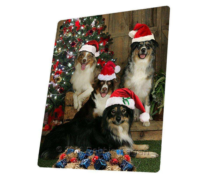 Australian Shepherd Dog Christmas Art Portrait Print Woven Throw Sherpa Plush Fleece Blanket