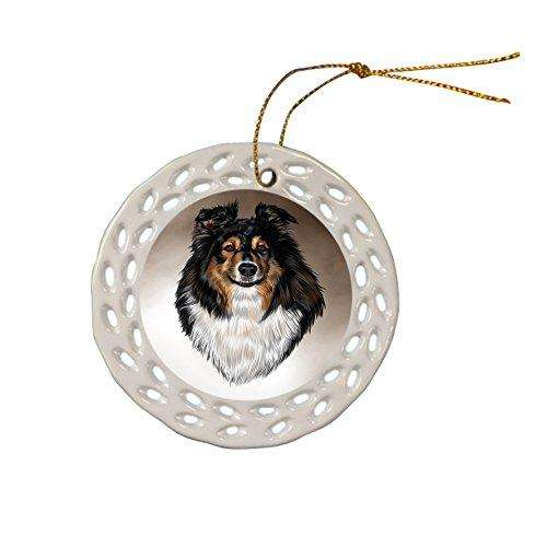 Australian Shepherd Dog Christmas Doily Ceramic Ornament