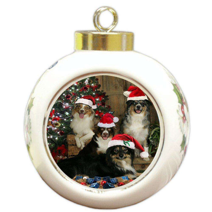 Australian Shepherd Dog Christmas Round Ball Ornament
