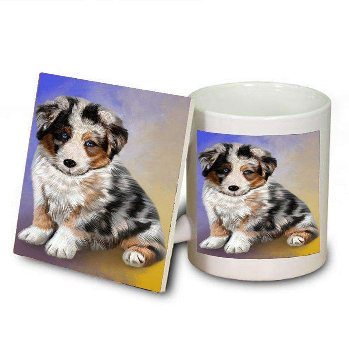 Australian Shepherd Dog Mug and Coaster Set