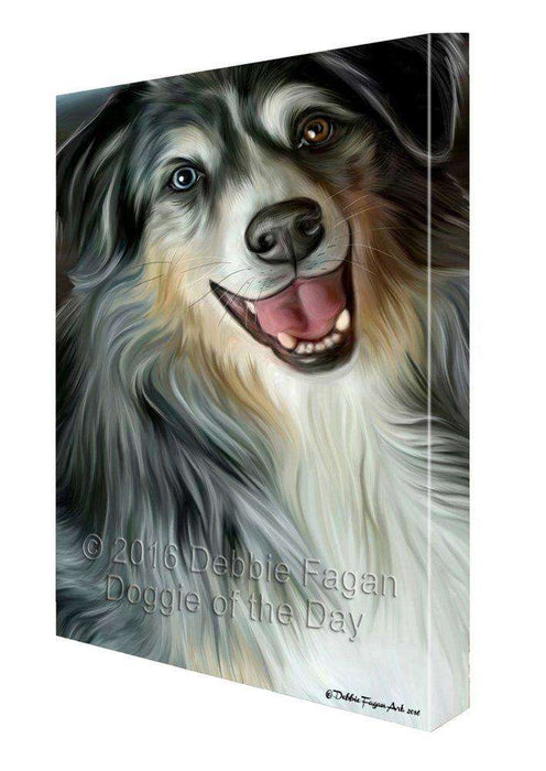 Australian Shepherd Dog Painting Printed on Canvas Wall Art