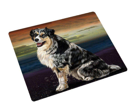 Australian Shepherd Dog Tempered Cutting Board