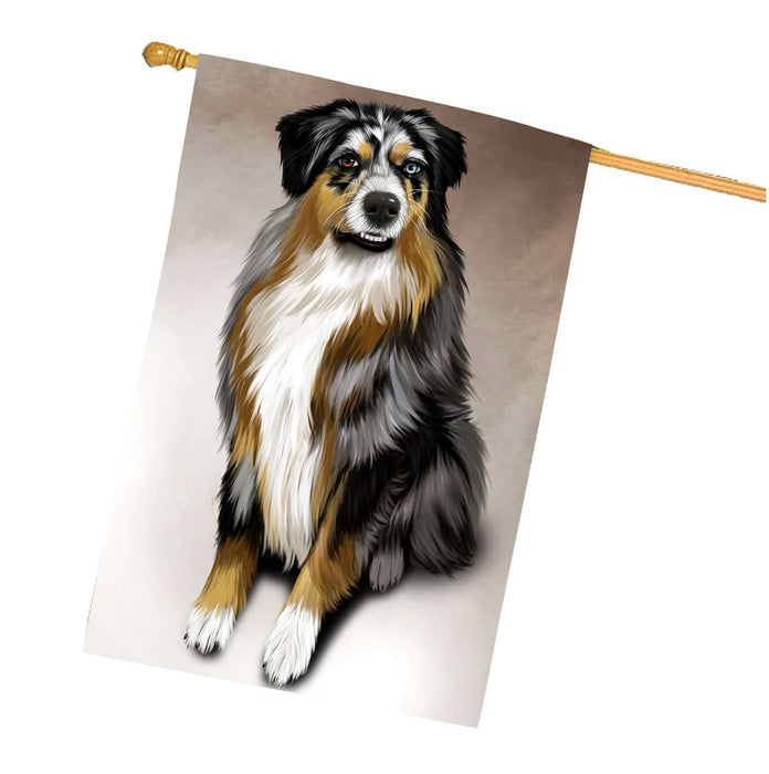 Australian Shepherd Gray Adult Dog House Flag