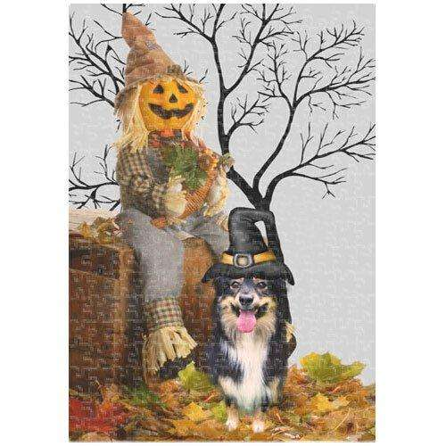 Australian Shepherd Halloween 252 Pc. Puzzle with Photo Tin