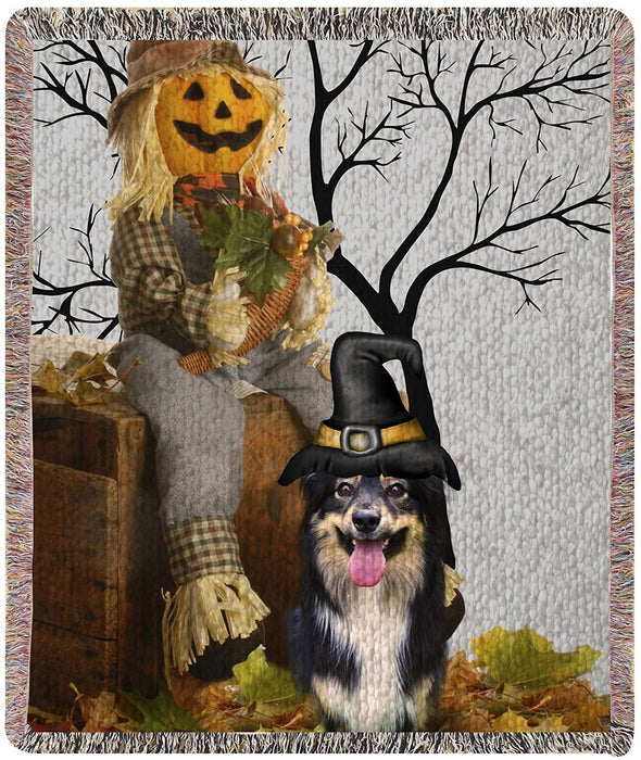 Australian Shepherd Halloween Woven Throw Blanket 54 x 38
