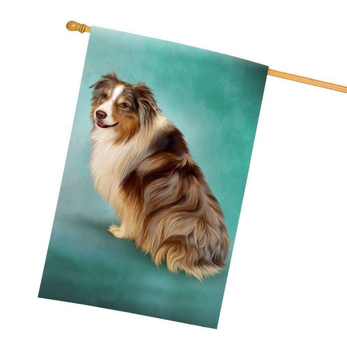 Australian Shepherd Red Merle Dog All Weather House Flag