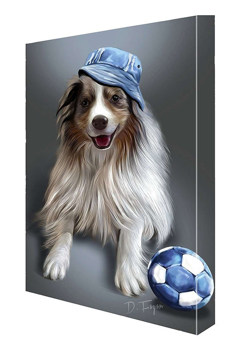 Australian Shepherd Red Merle Dog with Denim Ball and Hat Canvas