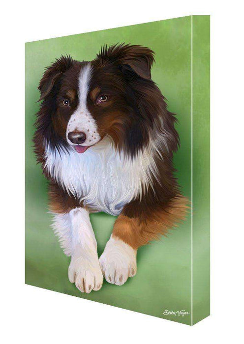Australian Shepherd Red Tri Dog Painting Printed on Canvas Wall Art Signed