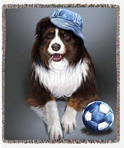 Australian Shepherd Red Tri Dog with Denim Ball and Hat Woven Throw Blanket 54 X 38
